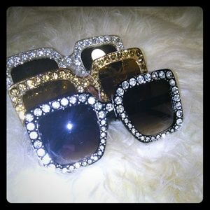 Accessories - Oversized Square Rhinestone Sunglasses